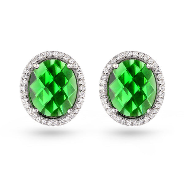 Green Oval Gala Earrings