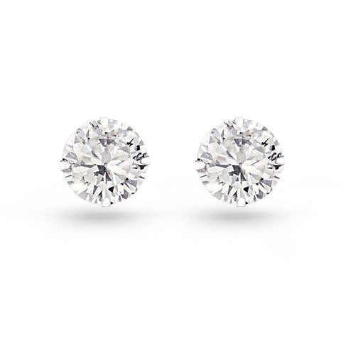 Cubic Zirconia Circle Stud Earrings (6mm)
