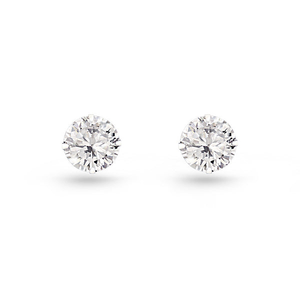 Cubic Zirconia Circle Stud Earrings Small
