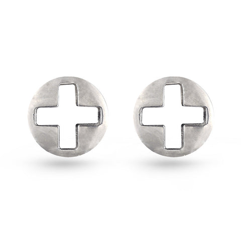 Circle Swiss Cross Stud Earrings