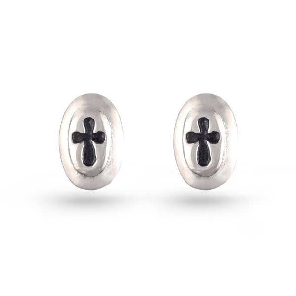 Oval Cross Stud Earrings