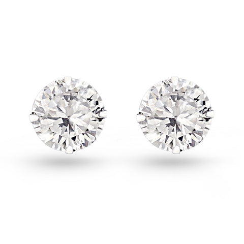 Cubic Zirconia Circle Stud Earrings (10mm)