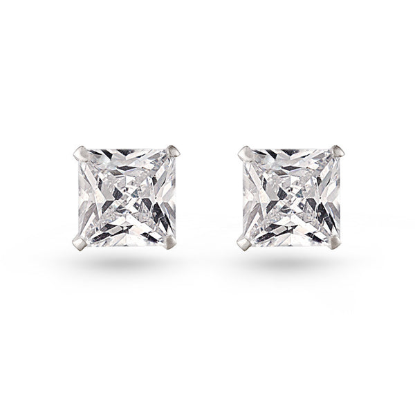 Princess Cut Stud Earrings Silver Finish Small