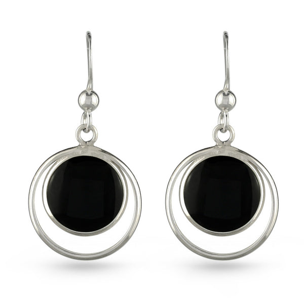 Double Circle Black Resin Drop Earrings