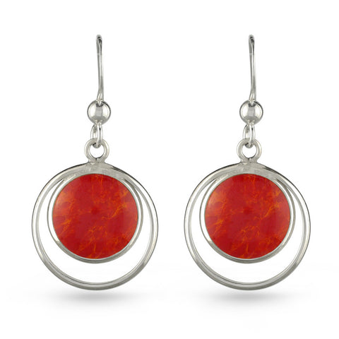 Double Circle Red Resin Drop Earrings