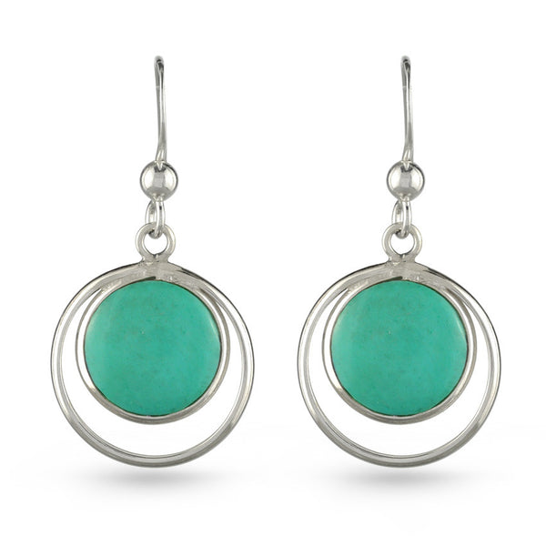 Double Circle Turquoise Drop Earrings
