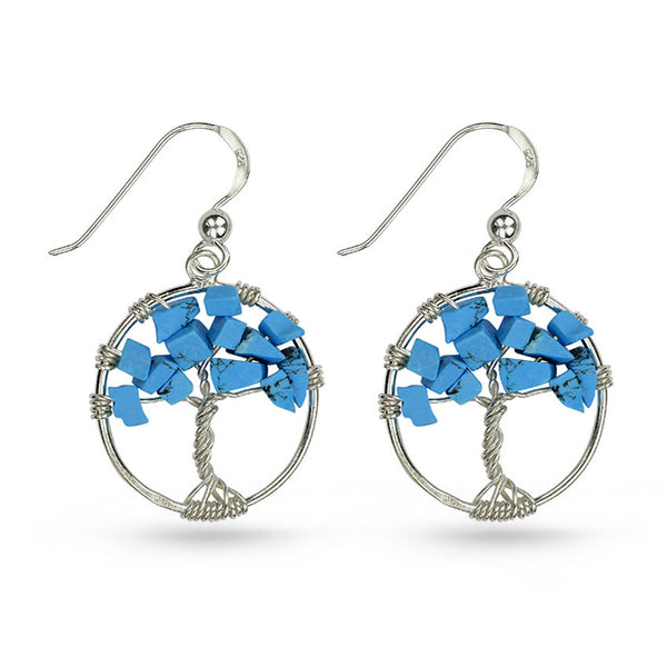 Turquoise Tree Of Life Circle Drop Earrings