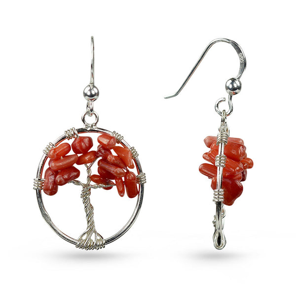 Red Coral Tree Of Life Circle Drop Earrings
