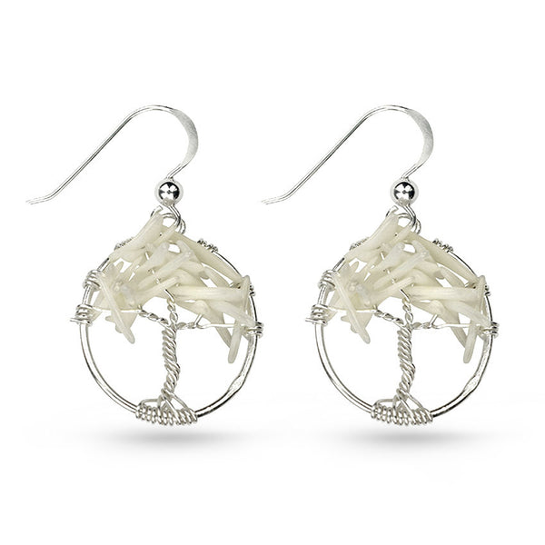 White Coral Tree Of Life Circle Drop Earrings