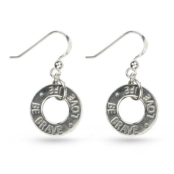Love Message In Circle Sterling Silver Drop Earrings