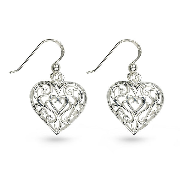 Filigree Silver Heart Drop Earrings