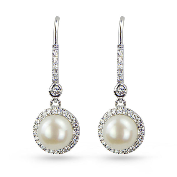 Freshwater Pearl And Cubic Zirconia Drop Earrings