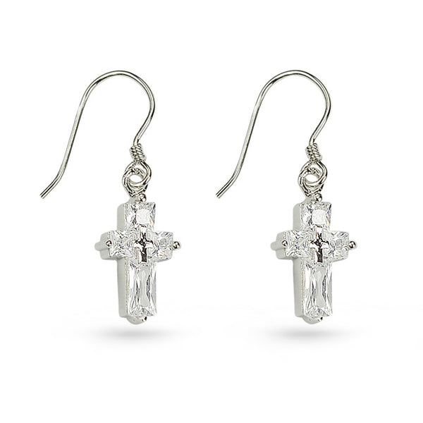 Cubic Zirconia Cross Drop Earrings
