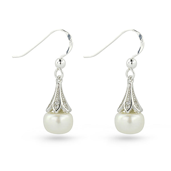 Sterling Silver Freshwater Pearl And Cubic Zirconia Drop French Bell Earrings