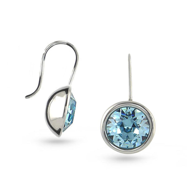 Aquamarine Bella Swarovski Crystal Sterling Silver Drop Earrings No.2
