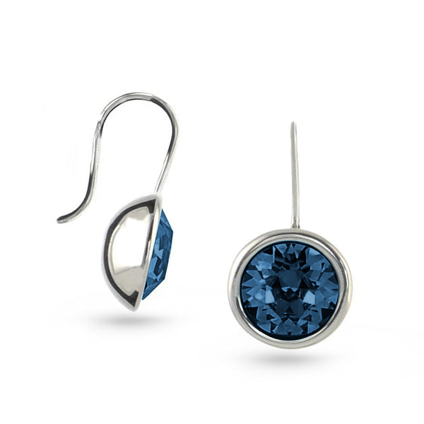 Dark Montana Blue Bella Swarovski Crystal Sterling Silver Drop Earrings No.2