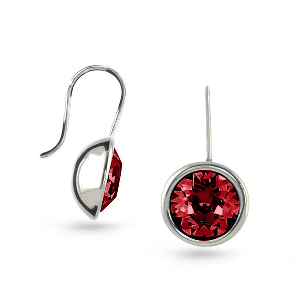Ruby Red Bella Swarovski Crystal Sterling Silver Drop Earrings No.2