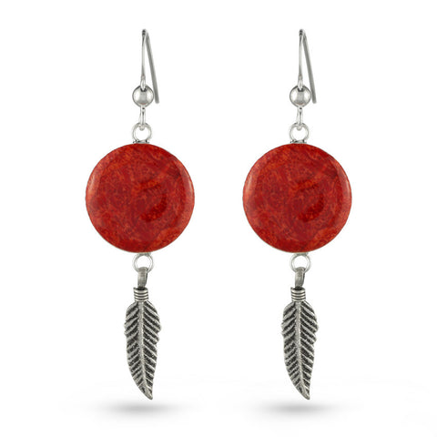 Coral and Feather Drop Earrings