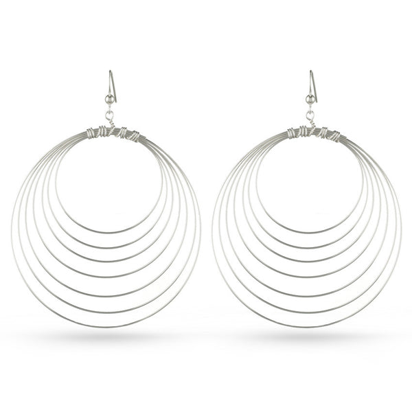 Eight Circles Sterling Silver Drop Earrings
