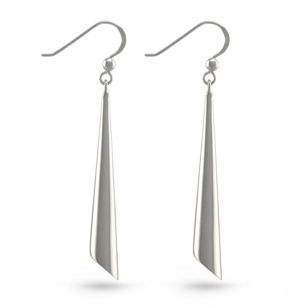 Geometric Cylinder Sterling Silver French Hook Drop Earrings