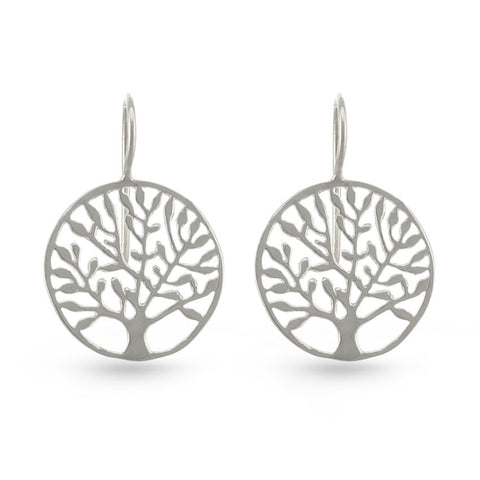 Tree Of Life Circle Drop Earrings