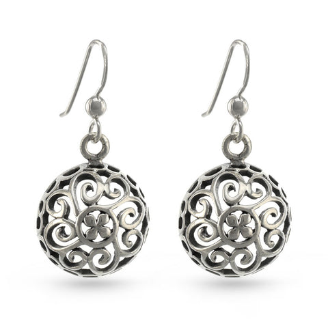 Filigree Half Ball Drop Earrings