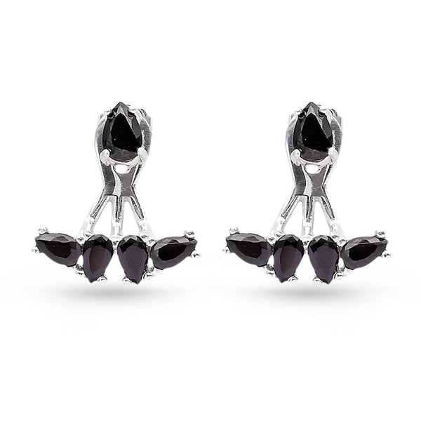 Handmade Pear Cubic Zirconia Ear Jackets Black