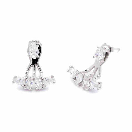 Handmade Pear Cubic Zirconia Ear Jackets White