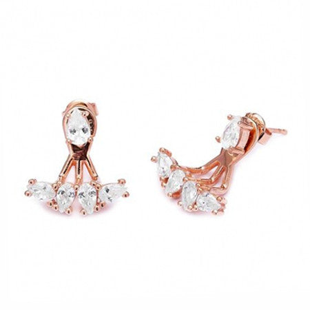 Handmade Pear Cubic Zirconia Ear Jackets White (Rose)