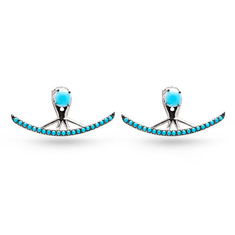 Handmade Curved Line Turquoise Ear Jackets