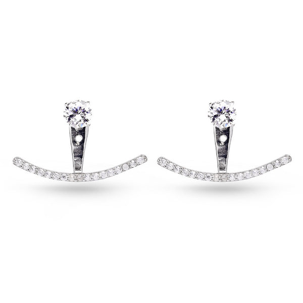 Handmade Curved Line Cubic Zirconia Ear Jackets White