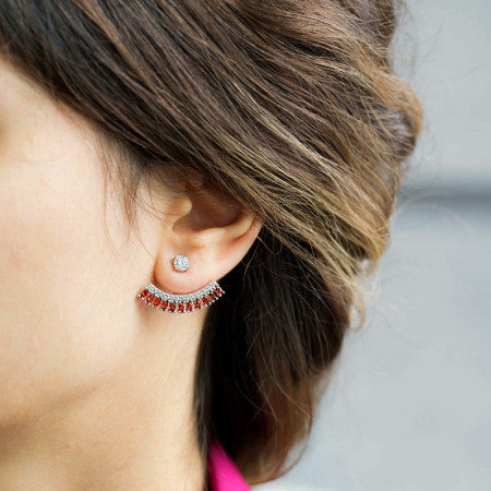 Handmade Double Sided Garnet Ear Jackets