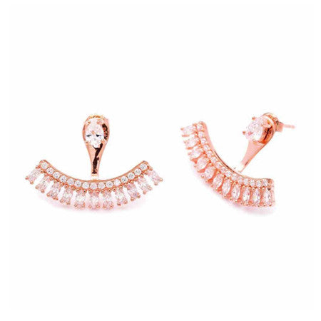 Handmade Double Sided Cubic Zirconia Ear Jackets White (Rose)