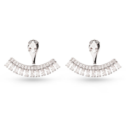 Handmade Double Sided Cubic Zirconia Ear Jackets White