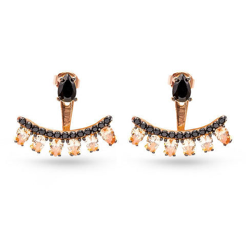 Handmade Black Cubic Zirconia Ear Jackets Citrine (Rose)