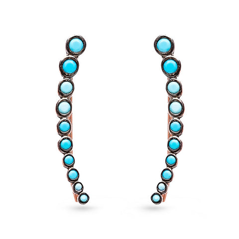 Handmade Curved Line Turquoise Ear Cuff Earrings (Rose)