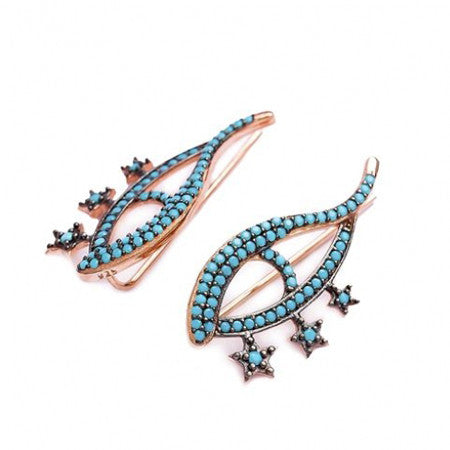 Handmade Evil Eyes Turquoise Ear Cuff Earrings (Rose)
