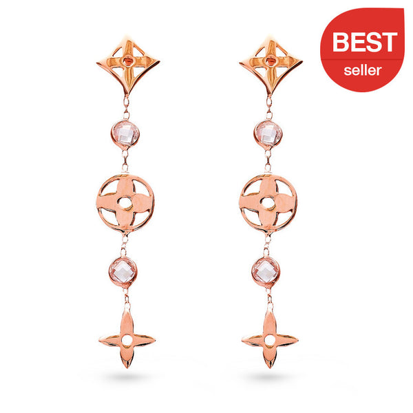 Geometric Flowers Long Drop Earrings Rose
