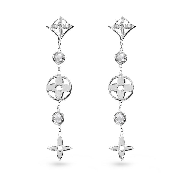 Geometric Flowers Long Drop Earrings