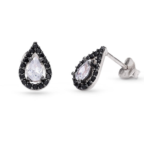 Handmade CZ Tear Drop Stud Earrings