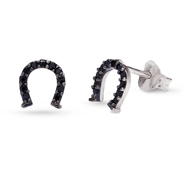 Handmade Rhodium Plated Sterling Silver Black Cubic Zirconium Horseshoe Stud Earrings