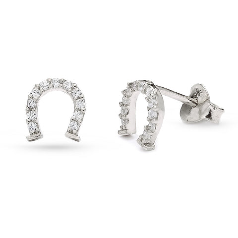 Handmade White CZ Lucky Horseshoe Stud Earrings