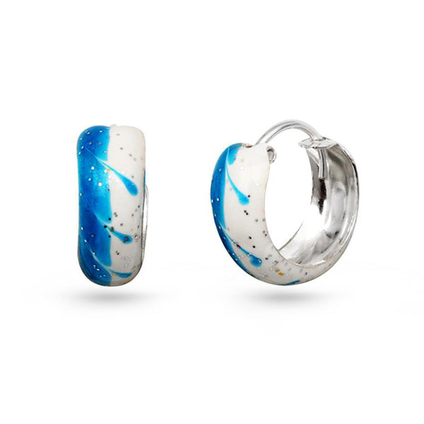 Blue Wave Silver Hoop Earrings