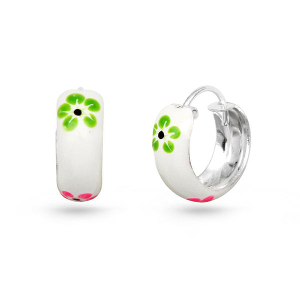 Spring Flowers Silver Hoop Earrings Enamel