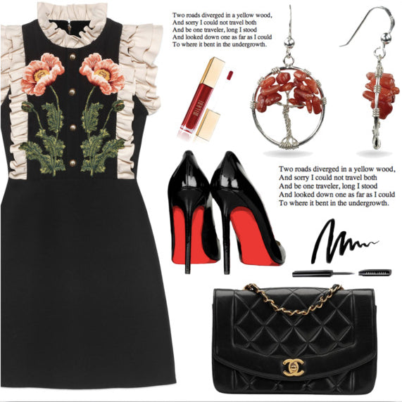 Polyvore Sets Red Coral Tree Of Life Silver Drop Earrings