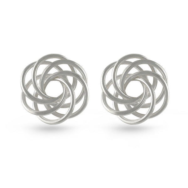 Silver Wool Stud Earrings