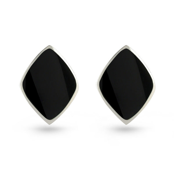 Black Resin Sterling Silver Diamond Stud Earrings