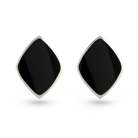 Black Resin Diamond Stud Earrings