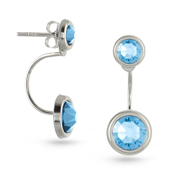 Aquamarine Swarovski Crystal Ear Jackets