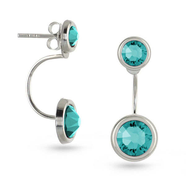 Blue Zircon Swarovski Crystal Ear Jackets